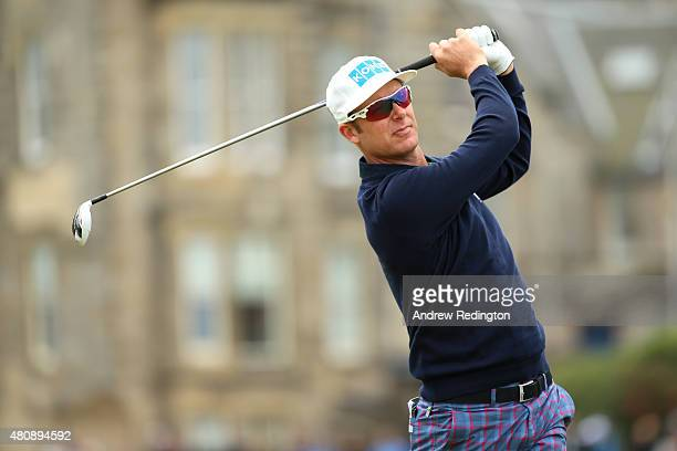 Mikko Ilonen of Finland tees off on the 2nd hole during the first round of the 144th Open Championship at The Old Course on July 16 2015 in St...