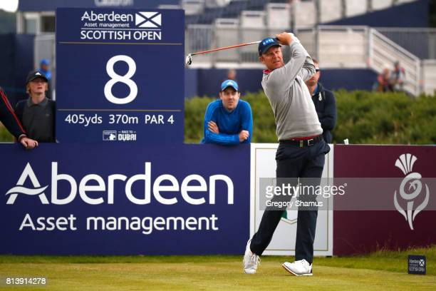 Mikko Ilonen of Finland tees off on the 8th hole during day one of the AAM Scottish Open at Dundonald Links Golf Course on July 13 2017 in Troon...