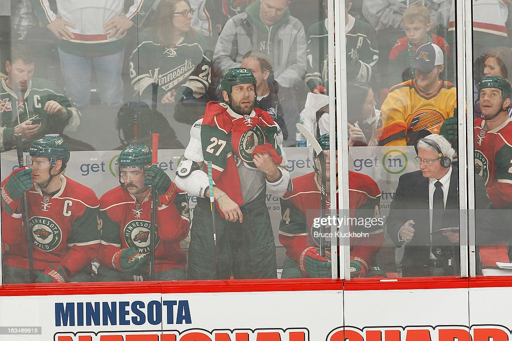 <a gi-track='captionPersonalityLinkClicked' href=/galleries/search?phrase=Mikko+Koivu&family=editorial&specificpeople=584987 ng-click='$event.stopPropagation()'>Mikko Koivu</a> #9, <a gi-track='captionPersonalityLinkClicked' href=/galleries/search?phrase=Cal+Clutterbuck&family=editorial&specificpeople=570497 ng-click='$event.stopPropagation()'>Cal Clutterbuck</a> #22, Mike Rupp #27, <a gi-track='captionPersonalityLinkClicked' href=/galleries/search?phrase=Justin+Falk&family=editorial&specificpeople=4324950 ng-click='$event.stopPropagation()'>Justin Falk</a> #44, and <a gi-track='captionPersonalityLinkClicked' href=/galleries/search?phrase=Zenon+Konopka&family=editorial&specificpeople=2105876 ng-click='$event.stopPropagation()'>Zenon Konopka</a> #28 of the Minnesota Wild all spend time in the penalty box during the game against the Vancouver Canucks on March 10, 2013 at the Xcel Energy Center in Saint Paul, Minnesota.