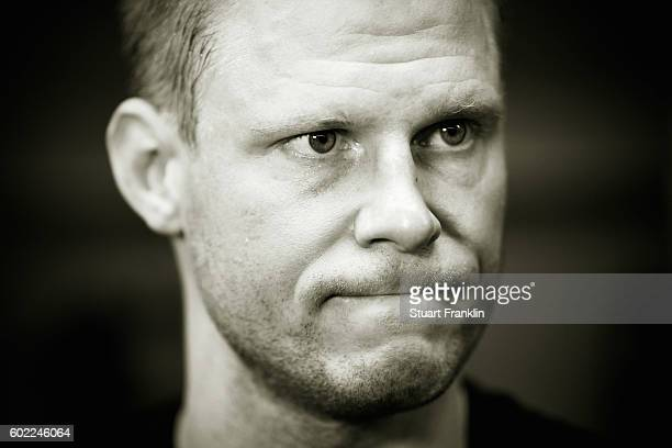 Mikko Koivu of Finland looks on during an interview after practice for Team Finland at the Hartwell Areena on September 7 2016 in Helsinki Finland