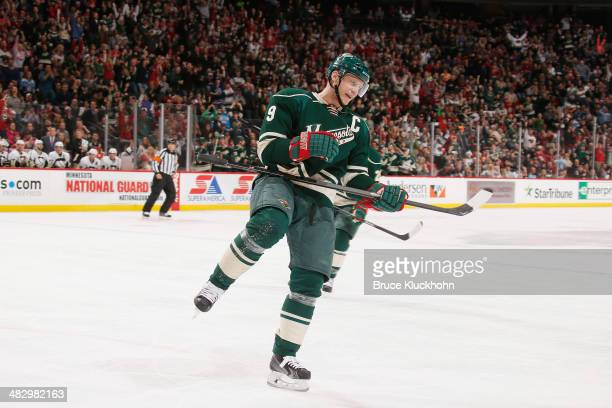 Mikko Koivu of the Minnesota Wild celebrates after scoring a goal against the Pittsburgh Penguins during the game on April 5 2014 at the Xcel Energy...