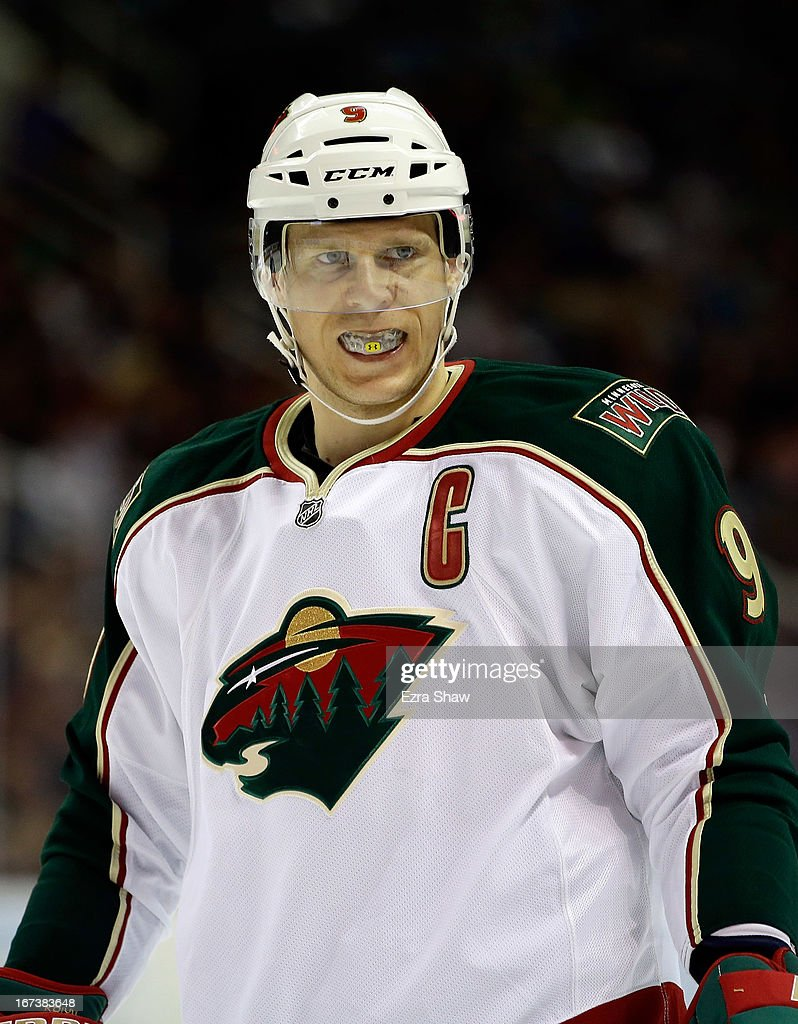 <a gi-track='captionPersonalityLinkClicked' href=/galleries/search?phrase=Mikko+Koivu&family=editorial&specificpeople=584987 ng-click='$event.stopPropagation()'>Mikko Koivu</a> #9 of the Minnesota Wild in action against the San Jose Sharks at HP Pavilion on April 18, 2013 in San Jose, California.