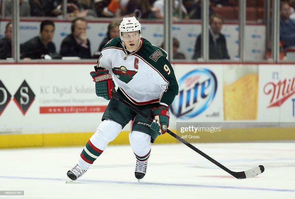 Mikko Koivu #9 of the Minnesota Wild skates against the Anaheim Ducks at Honda Center on February 1, 2013 in Anaheim, California.