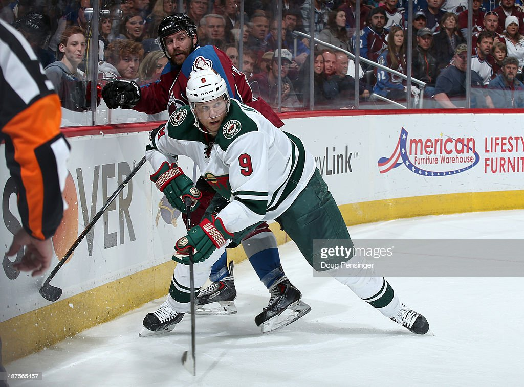 Mikko Koivu #9 of the Minnesota Wild skates against the Colorado Avalanche in Game Seven of the First Round of the 2014 NHL Stanley Cup Playoffs at Pepsi Center on April 30, 2014 in Denver, Colorado. The Wild defeated the Avalanche in overtime 5-4 to win the series.
