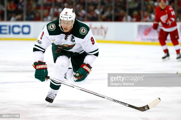 Mikko Koivu of the Minnesota Wild skates against the Detroit Red Wings at Joe Louis Arena on March 26 2017 in Detroit Michigan