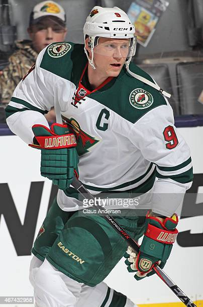 Mikko Koivu of the Minnesota Wild skates in the warmup prior to playing against the Toronto Maple Leafs in an NHL game at the Air Canada Centre on...