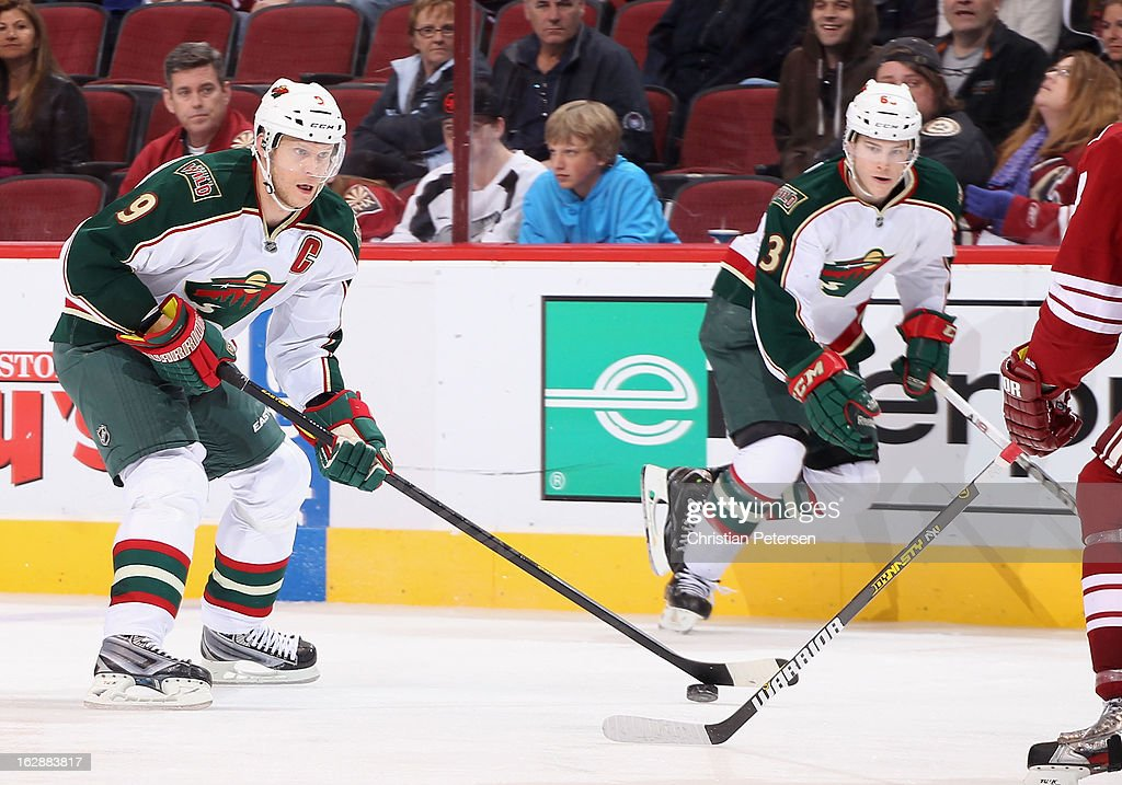<a gi-track='captionPersonalityLinkClicked' href=/galleries/search?phrase=Mikko+Koivu&family=editorial&specificpeople=584987 ng-click='$event.stopPropagation()'>Mikko Koivu</a> #9 of the Minnesota Wild skates with the puck during the NHL game against the Phoenix Coyotes at Jobing.com Arena on February 28, 2013 in Glendale, Arizona. The Wild defeated the Coyotes 4-3.