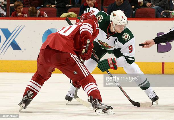 Mikko Koivu of the Minnesota Wild takes a faceoff against the Arizona Coyotes at Gila River Arena on December 13 2014 in Glendale Arizona