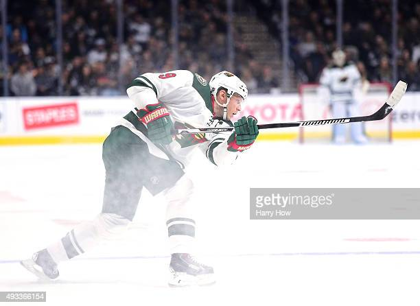 Mikko Koivu of the Minnesota Wild takes a shot during the game against the Los Angeles Kings at Staples Center on October 16 2015 in Los Angeles...