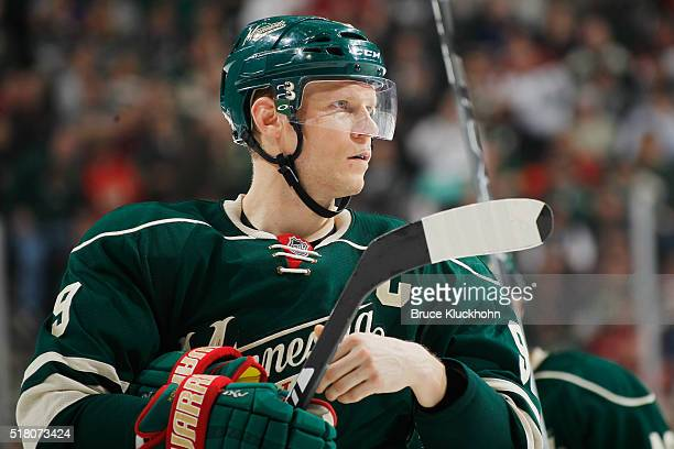 Mikko Koivu of the Minnesota Wild waits for play to resume against the Los Angeles Kings during the game on March 22 2016 at the Xcel Energy Center...