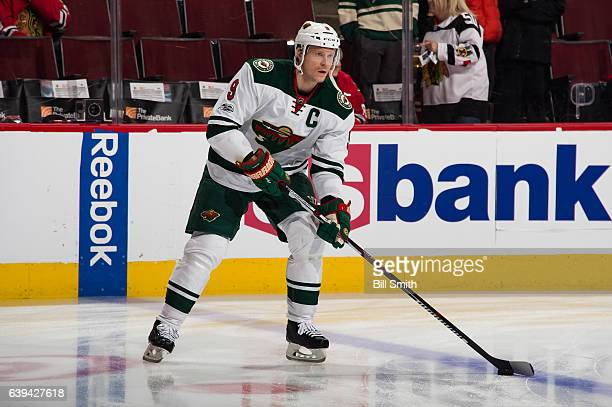 Mikko Koivu of the Minnesota Wild warms up prior to the game against the Chicago Blackhawks at the United Center on January 15 2017 in Chicago...