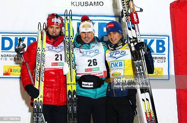 Mikko Kokslien of Norway Felix Gottwald of Austria and Jason Lamy Chappuis of France on the podium in the Gundersen Ski Jumping HS 142/10km Cross...