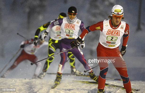 Mikko Kokslien of Norway II competes during the Nordic Combined Team Sprint 2 x 75 km competition of the FIS World Cup in Kuusamo Finland on December...