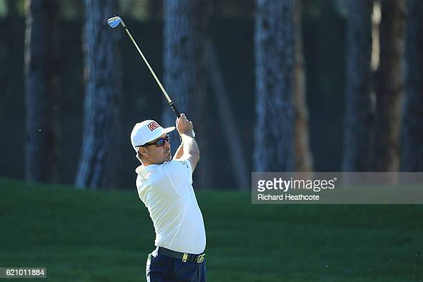 Mikko Korhonen of Finland hits his second shot on the 1st hole during day two of the Turkish Airlines Open at the Regnum Carya Golf Spa Resort on...