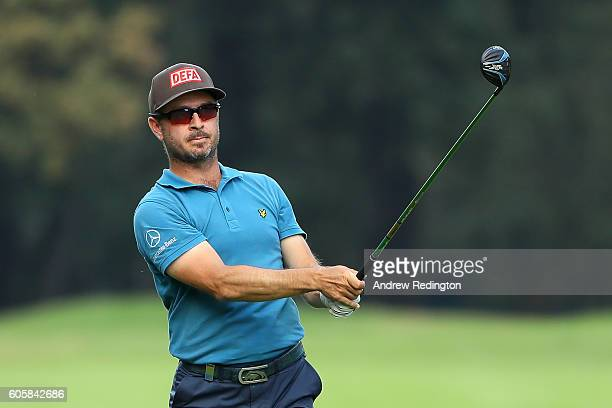 Mikko Korhonen of Finland hits his second shot on the 9th hole during the first round of the Italian Open at Golf Club Milano on September 15 2016 in...