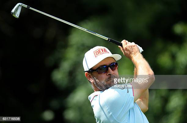 Mikko Korhonen of Finland hits his tee shot on the 3rd hole during day four of the BMW South African Open Championship at Glendower Golf Club on...