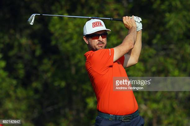 Mikko Korhonen of Finland hits his teeshot on the 12th hole during the second round of the Abu Dhabi HSBC Championship at Abu Dhabi Golf Club on...
