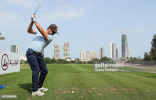 Mikko Korhonen of Finland hits his teeshot on the third hole during the third round of the Commercial Bank Qatar Masters at Doha Golf Club on January...