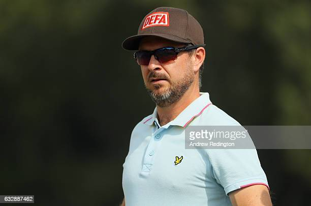 Mikko Korhonen of Finland is pictured on the driving range prior to teeing off in the third round of the Commercial Bank Qatar Masters at Doha Golf...
