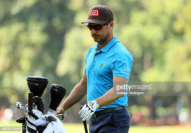 Mikko Korhonen of Finland looks on on the 18th hole during the second round of the Italian Open at Golf Club Milano Parco Reale di Monza on September...