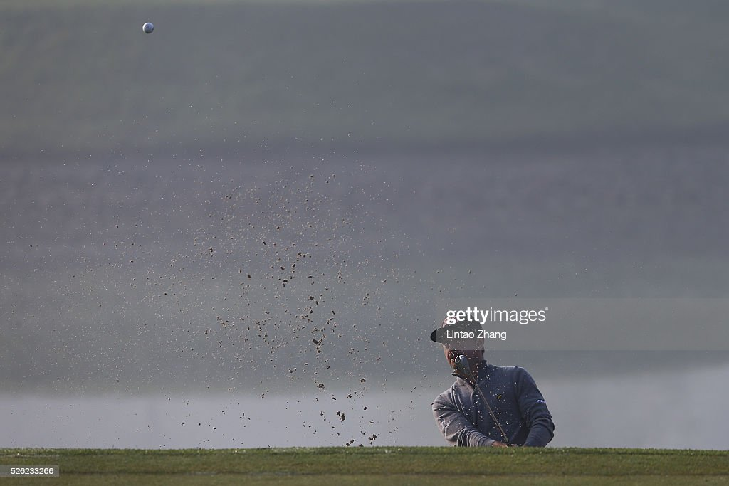 Mikko Korhonen of Finland plays a shot during the second round of the Volvo China open at Topwin Golf and Country Club on April 30, 2016 in Beijing, China.