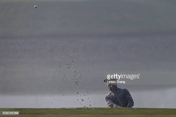 Mikko Korhonen of Finland plays a shot during the second round of the Volvo China open at Topwin Golf and Country Club on April 30 2016 in Beijing...