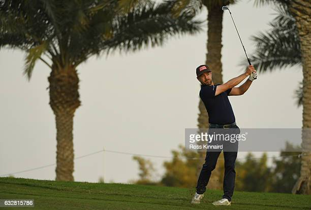 Mikko Korhonen of Finland plays his second shot on the second hole during the second round of the Commercial Bank Qatar Masters at the Doha Golf Club...