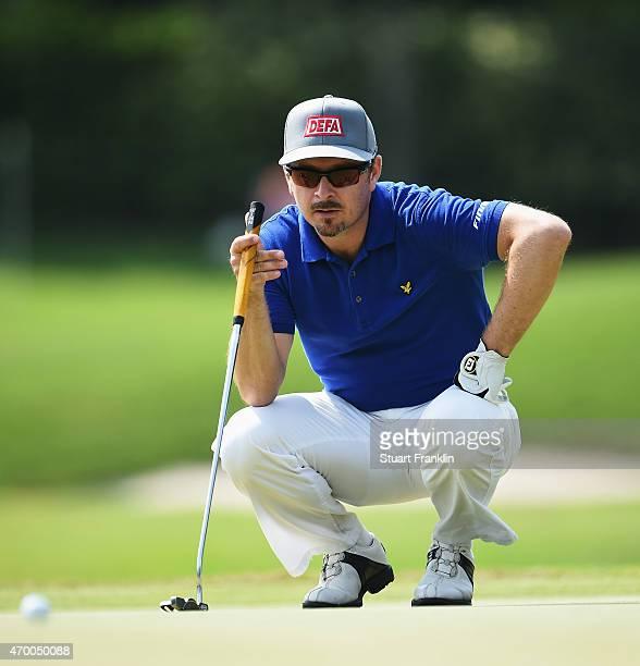 Mikko Korhonen of Finland ponders a shot during the second round of the Shenzhen International at Genzon Golf Club on April 17 2015 in Shenzhen China