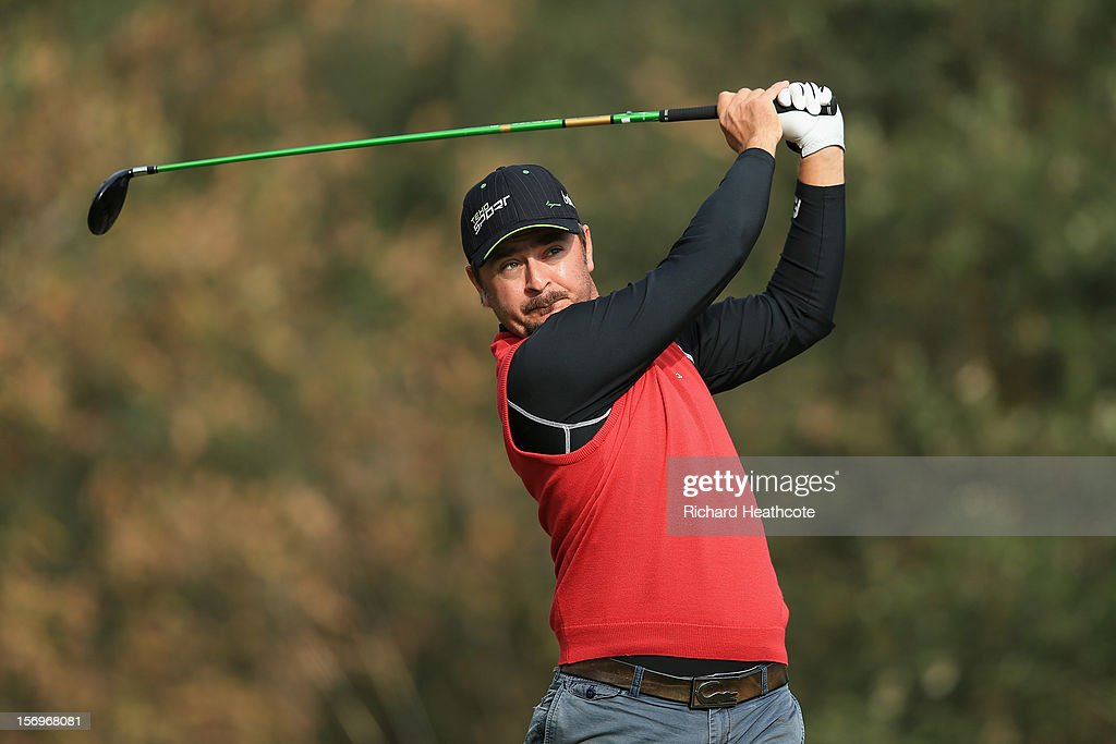 Mikko Korhonen of Finland tee's off at the 3rd during the third round of the European Tour Qualifying School Finals at PGA Catalunya Resort on November 26, 2012 in Girona, Spain.