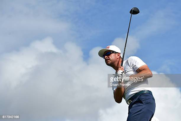 Mikko Korhonen of Finland tees off during day four of the Portugal Masters at Victoria Clube de Golfe on October 23 2016 in Vilamoura Portugal