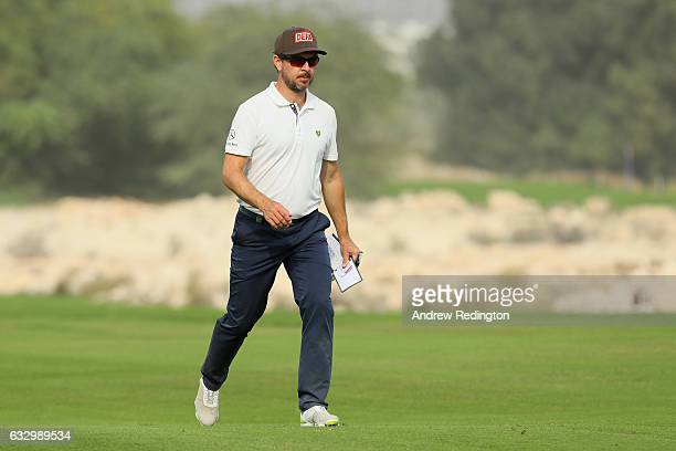 Mikko Korhonen of Finland walks down the 18th fairway during the fourth round of the Commercial Bank Qatar Masters at the Doha Golf Club on January...