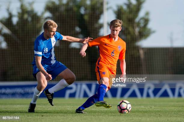 Mikko Kuningas Frenkie de Jong during the friendly match of national teams U21 of The Netherlands vs Finland at Pinatar Arena on March 24 2017 in...
