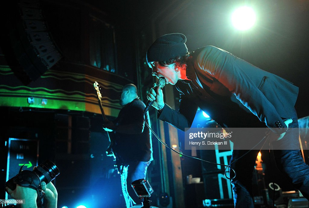Mikko Paananen and Ville Valo of HIM perform at Webster Hall on December 9, 2014 in New York City.