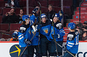 Mikko Rantanen of Team Finland celebrates his goal with teammates during the 2015 IIHF World Junior Hockey Championship game against Team Slovakia at...