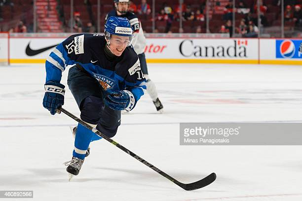 Mikko Rantanen of Team Finland skates during the 2015 IIHF World Junior Hockey Championship game against Team Slovakia at the Bell Centre on December...