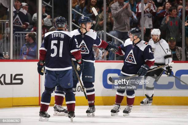 Mikko Rantanen of the Colorado Avalanche celebrates a goal against the Los Angeles Kings with teammates Tyson Barrie and Fedor Tyutin at the Pepsi...