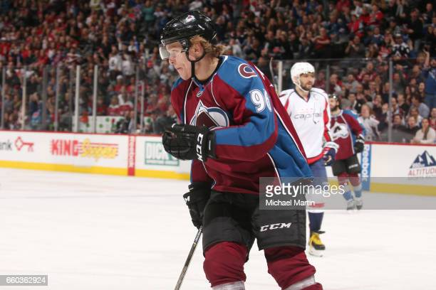 Mikko Rantanen of the Colorado Avalanche celebrates after scoring a goal against the Washington Capitals at the Pepsi Center on March 29 2017 in...