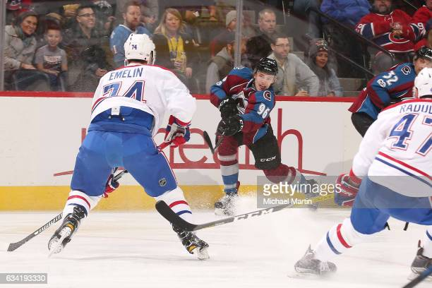 Mikko Rantanen of the Colorado Avalanche shoots and scores against the Montreal Canadiens at the Pepsi Center on February 7 2017 in Denver Colorado