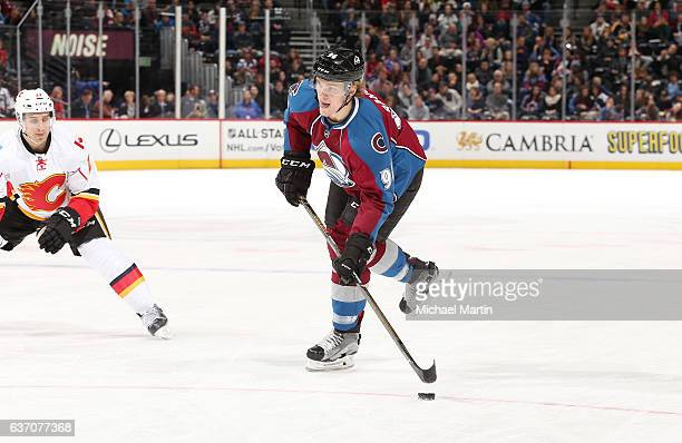Mikko Rantanen of the Colorado Avalanche skates against the Calgary Flames at the Pepsi Center on December 27 2016 in Denver Colorado The Flames...