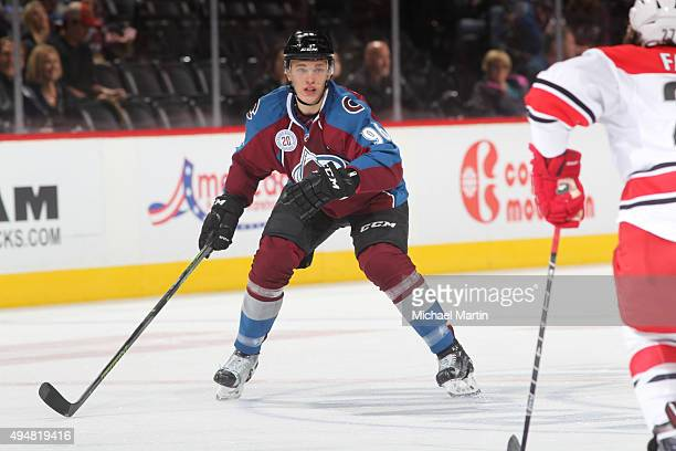 Mikko Rantanen of the Colorado Avalanche skates against the Carolina Hurricanes at the Pepsi Center on October 21 2015 in Denver Colorado The...