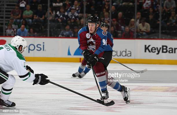 Mikko Rantanen of the Colorado Avalanche skates against the Dallas Stars at the Pepsi Center on October 10 2015 in Denver Colorado The Avalanche...