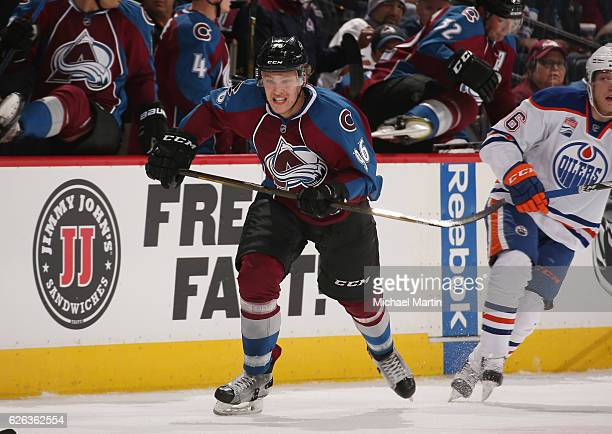 Mikko Rantanen of the Colorado Avalanche skates against the Edmonton Oilers at the Pepsi Center on November 23 2016 in Denver Colorado The Oilers...