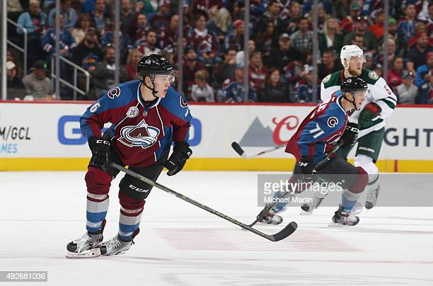Mikko Rantanen of the Colorado Avalanche skates against the Minnesota Wild at the Pepsi Center on October 8 2015 in Denver Colorado The Wild defeated...