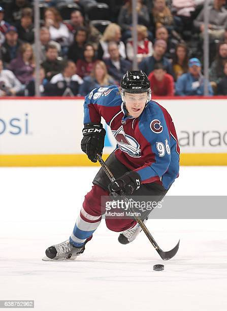 Mikko Rantanen of the Colorado Avalanche skates against the Nashville Predators at the Pepsi Center on January 14 2017 in Denver Colorado The...