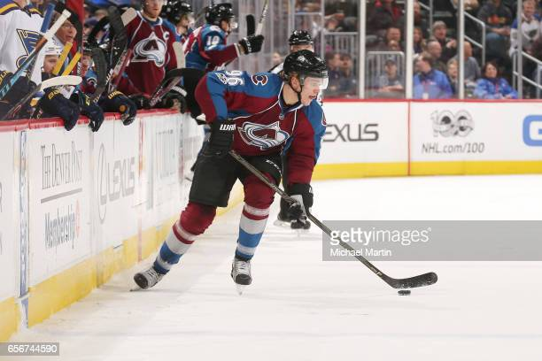Mikko Rantanen of the Colorado Avalanche skates against the St Louis Blues at the Pepsi Center on March 21 2017 in Denver Colorado