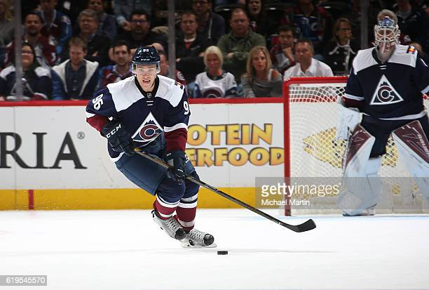 Mikko Rantanen of the Colorado Avalanche skates against the Winnipeg Jets at the Pepsi Center on October 28 2016 in Denver Colorado 'n