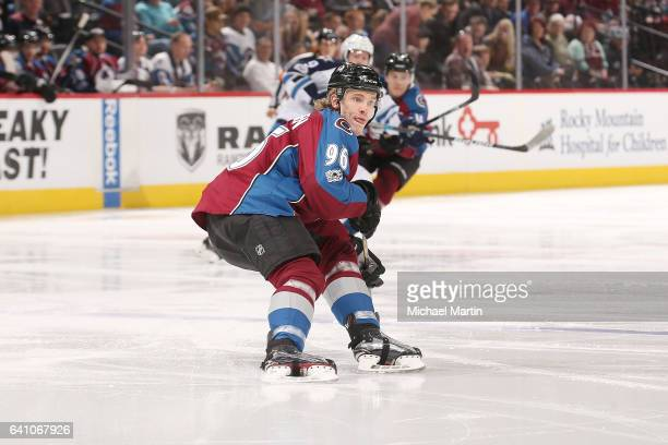 Mikko Rantanen of the Colorado Avalanche skates against the Winnipeg Jets at the Pepsi Center on February 4 2017 in Denver Colorado