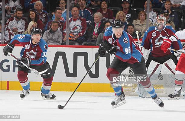 Mikko Rantanen of the Colorado Avalanche skates down ice against the Carolina Hurricanes at the Pepsi Center on October 21 2015 in Denver Colorado