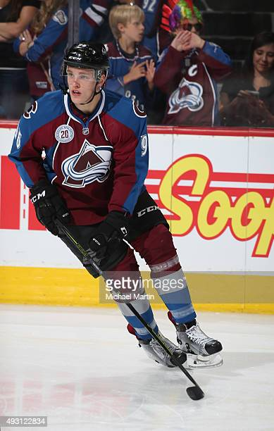 Mikko Rantanen of the Colorado Avalanche skates prior to the game against the Dallas Stars at the Pepsi Center on October 10 2015 in Denver Colorado...