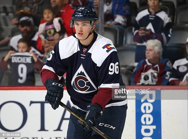 Mikko Rantanen of the Colorado Avalanche skates prior to the game against the Winnipeg Jets at the Pepsi Center on October 28 2016 in Denver Colorado